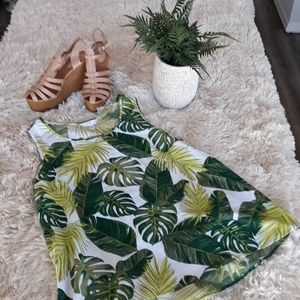 Palm leaves sleeveless summer top L